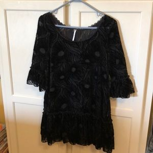Free People Sheer Black Velour & Lace Tunic Small